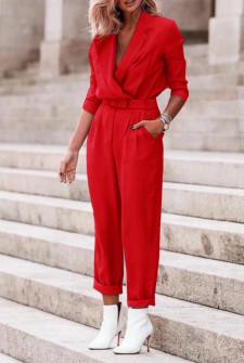 Γυναικεία ολόσωμη φόρμα με ζώνη 5507 κόκκινη