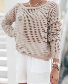 Γυναικεία πλεκτή μπλούζα 4708 μπεζ