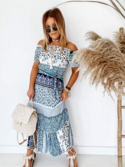 Дамска рокля с етно мотиви 5188 светло синя