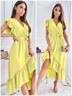 Γυναικείο ασύμμετρο φόρεμα 3690 κίτρινο