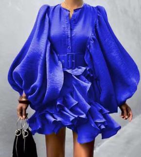 Γυναικείο εντυπωσιακό φόρεμα 20805 μπλε
