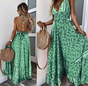 Γυναικείο μακρύ φόρεμα με σχέδια 500307