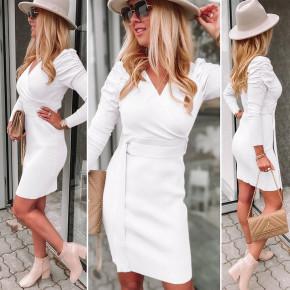 Γυναικείο φόρεμα με ζώνη 6046 άσπρο
