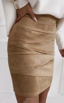 Γυναικεία σουέτ φούστα 5367  μπεζ