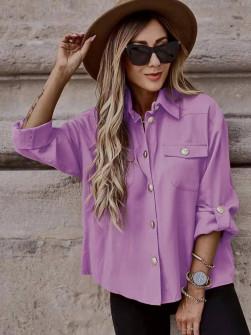 Γυναικείο χαλαρό πουκάμισο 5510 λιλά