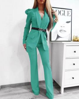 Γυναικείο σετ με σακάκι και παντελόνι 9808 τυρκουάζ