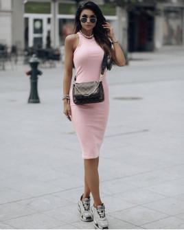 Γυναικείο εφαρμοστό φόρεμα 13621 ροζ