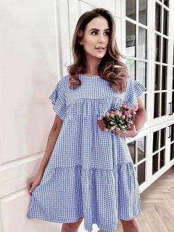 Γυναικείο φόρεμα πτι καρό 21077 γαλάζιο