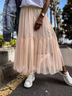 Γυναικεία αέρινη φούστα 5488 ροδακινή