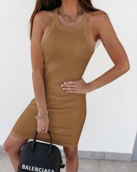 Γυναικείο εφαρμοστό φόρεμα 5774 καμηλό