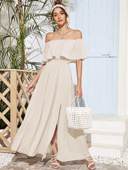 Γυναικείο μακρύ φόρεμα 5184 μπεζ