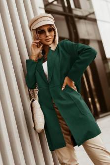 Γυναικείο βελούδινο μακρύ σακάκι  6014 πράσινο