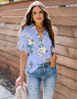 Γυναικεία μπλούζα φλοράλ 2409 γαλάζια