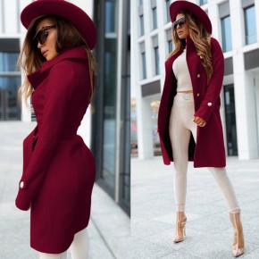 Γυναικείο κομψό παλτό με φόδρα 6083 μπορντό