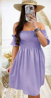 Γυναικείο φόρεμα με σφηκοφωλιά 5727 λιλά