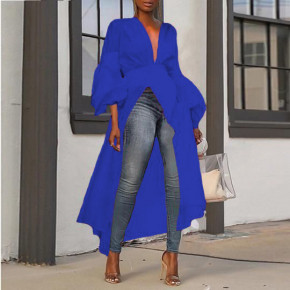 Γυναικείο ασύμμετρο μπλουζοφόρεμα 3222 μπλε