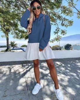 Γυναικείο μπλουζοφόρεμα 20644 μπλε του τζιν