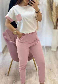 Γυναικείο σετ κοντομάνικο και παντελόνι 21102 ροζ