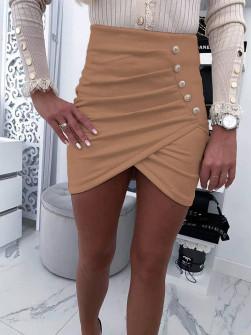 Γυναικεία κοντή φούστα 20106 καμηλό