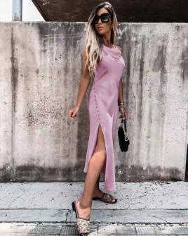 Γυναικείο σατέν φόρεμα 5716 λιλά