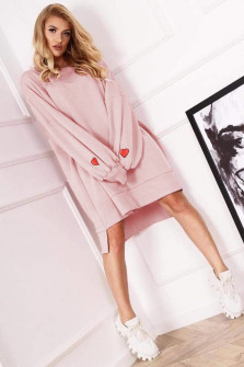 Γυναικείο χαλαρό μπλουζοφόρεμα 19740 ροζ