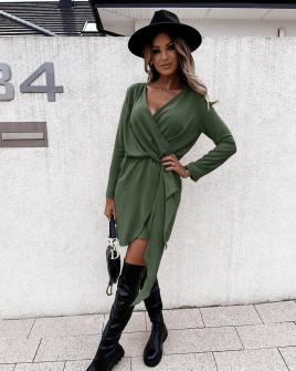 Γυναικείο κομψό φόρεμα 5987 σκούρο πράσινο