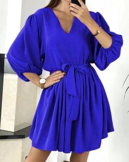 Γυναικείο χαλαρό φόρεμα με ζώνη 3456 μπλε