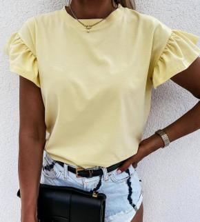 Γυναικεία μπλούζα με εντυπωσιακό μανίκι 4465 κίτρινη