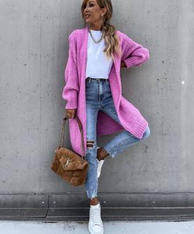 Γυναικεία μακριά ζακέτα 00836 ροζ