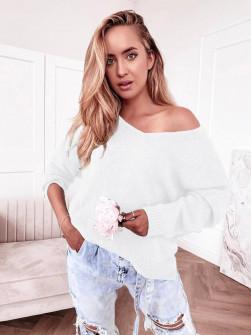 Γυναικείο μονόχρωμο πουλόβερ 83771 άσπρο
