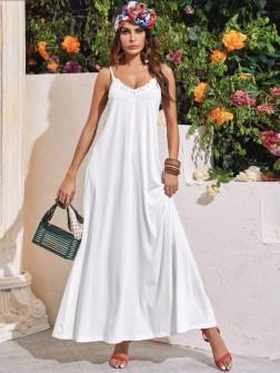 Γυναικείο μακρύ φόρεμα 5156 άσπρο