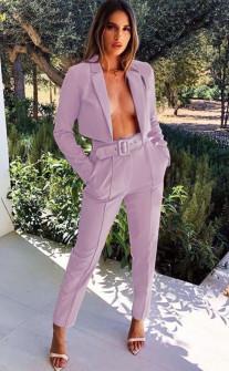 Γυναικείο σετ παντελόνι και κοντό σακάκι 3991 λιλά