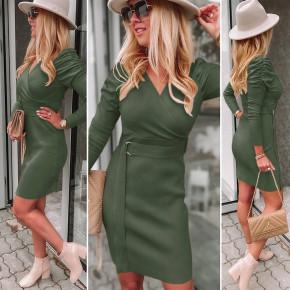 Γυναικείο φόρεμα με ζώνη 6046 σκούρο πράσινο