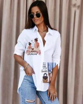 Γυναικείο πουκάμισο με στάμπα 548204
