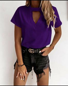 Γυναικεία κοντομάνικη μπλούζα 5167 μωβ
