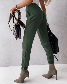 Γυναικείο παντελόνι με κουπιά στο πόδι 5954 πράσινο