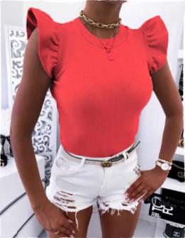 Γυναικεία μπλούζα με εντυπωσιακό μανίκι 2197 κόκκινη