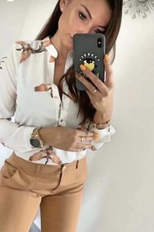 Γυναικείο πουκάμισο με ντεσέν 327703 άσπρη