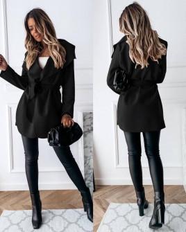 Γυναικείο παλτό με ζώνη 5290 μαύρο