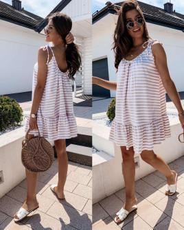 Γυναικείο εξώπλατο φόρεμα ριγέ 5120 καπούτσινο