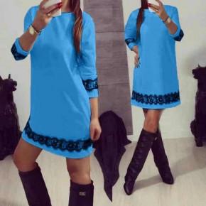 Γυναικείο φόρεμα με δαντέλα 383101 γαλάζιο