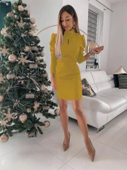 Γυναικείο εφαρμοστό φόρεμα 8047 κίτρινο