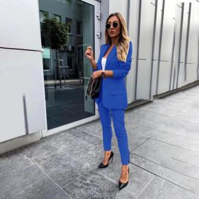 Γυναικείο σετ σακάκι και παντελόνι 3998 μπλε