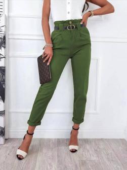 Γυναικείο παντελόνι με ζώνη 18158 πράσινο