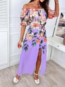 Γυναικείο φόρεμα φλοράλ 56133 μωβ