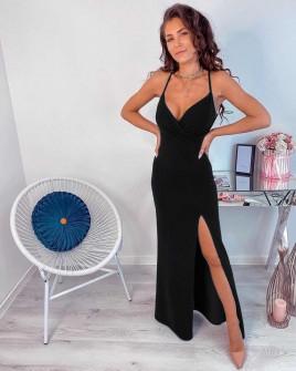 Γυναικείο μακρύ φόρεμα με σκίσιμο 5083 μαύρο