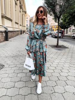 Γυναικείο σατέν φόρεμα μίντι 9571 μέντα
