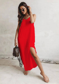 Γυναικείο μακρύ χαλαρό φόρεμα 8177 κόκκινο