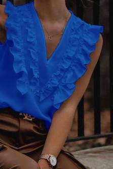 Γυναικείο μπλουζάκι με βαθύ ντεκολτέ 2131 μπλε