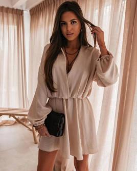 Στιλάτο γυναικείο φόρεμα 5560 μπεζ